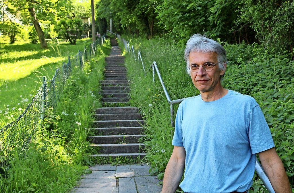 Ulrich Nanz vor der bei den Downhillern beliebten Treppe Foto: Tilman Baur