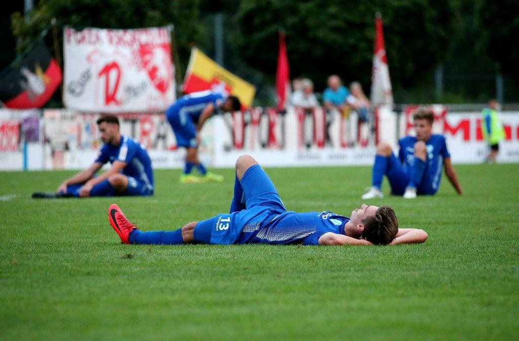Nach der 0:1-Niederlage nach Verlängerung gegen die TSG Backnang sind die Stuttgarter Kickers aus dem WFV-Pokal ausgeschieden. Foto: Pressefoto Baumann