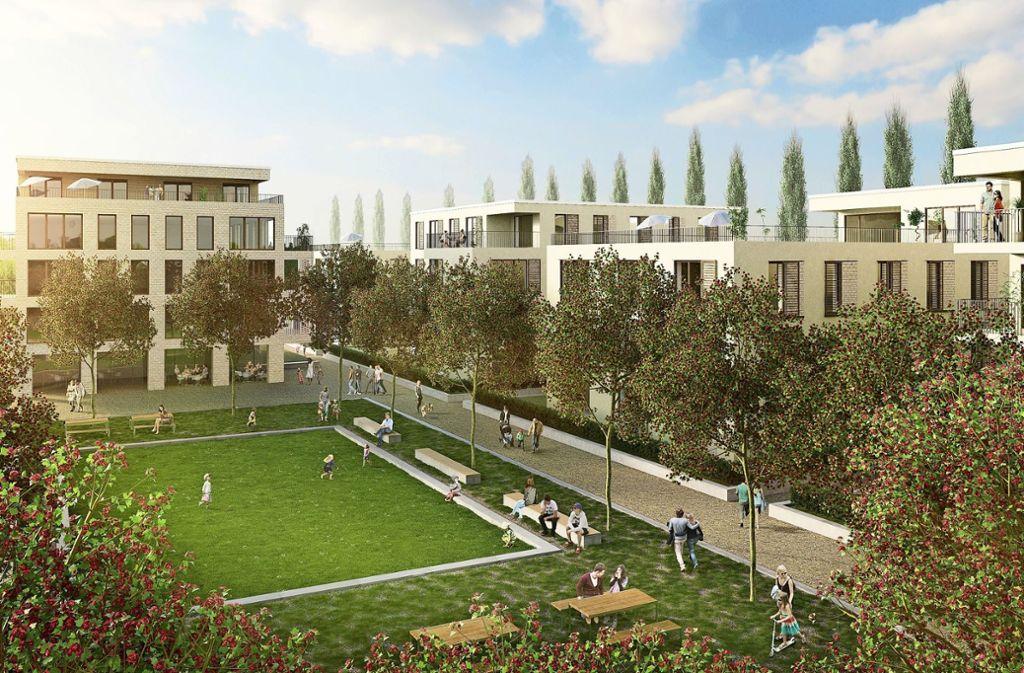 Die BPD Immobilienentwicklung wirbt mit viel Grün und einem Quartiersplatz in der Mitte des neuen Wohngebiets. Foto: Ackermann + Raff