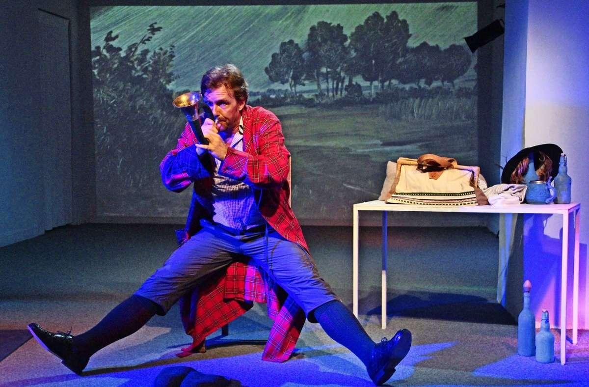 """Szene aus """"Buschwerk"""", das Stück über Wilhelm Busch von Dein Theater mit Norbert Eilts Foto: Dein Theater/Katja_Ritter"""