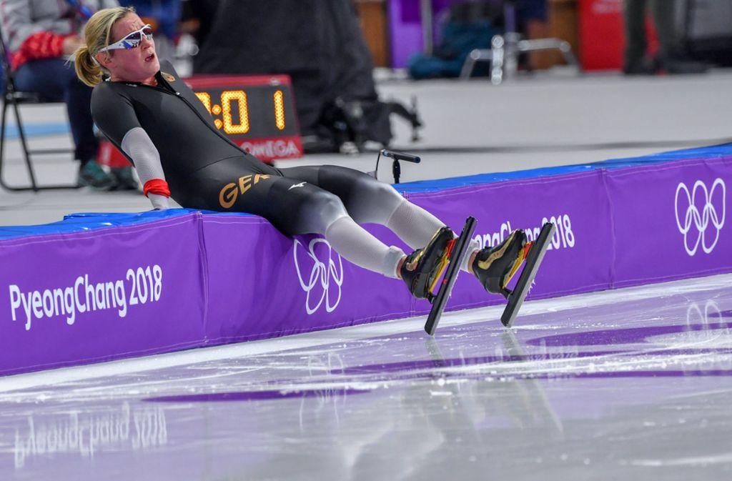 Claudia Pechstein verpasst bei Olympia 2018 ihre zehnte Olympia-Medaille im Eisschnelllauf. Foto: dpa
