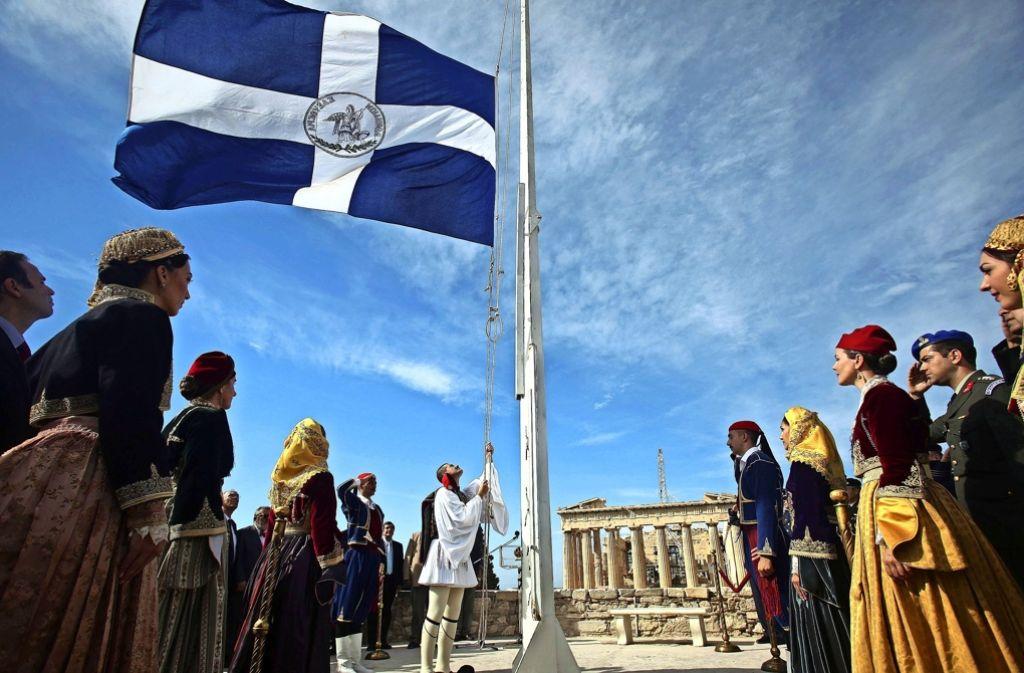 Viel zu feiern gibt es für die Griechen gerade nicht – so wie unlängst auf der Akropolis. Sonst ist die Stimmung eher von Krise geprägt. Foto: ANA-MPA