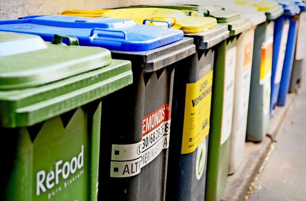 Um die Mülltrennung zu fördern, könnten die Haushalte mit Tonnen für verschiedene Abfallsorten ausgestattet werden. Foto: dpa