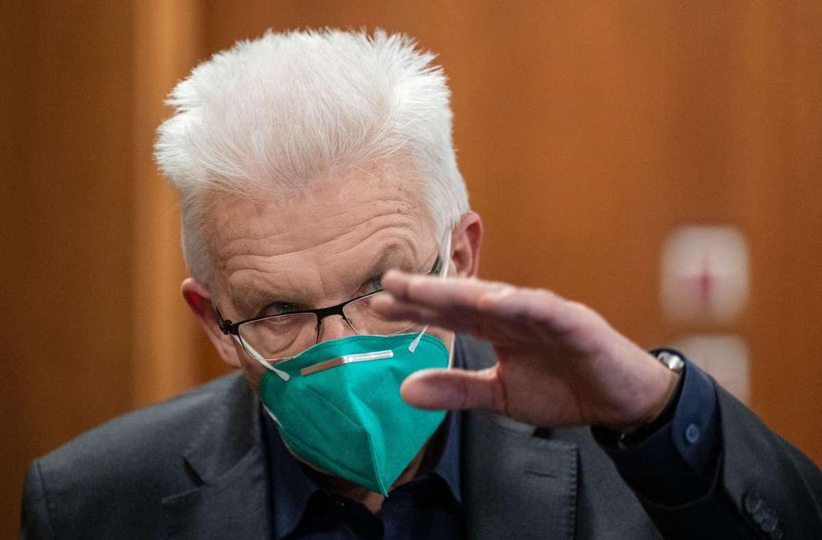 Ministerpräsident Winfried Kretschmann appellierte erneut an die Impfbereitschaft der Bevölkerung. Foto: dpa/Marijan Murat