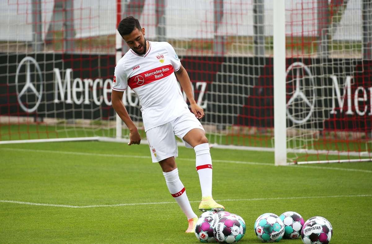 VfB-Stürmer Nicolas Gonzalez hatte im letzten Testspiel einen Bündelriss in der Hüftmuskulatur erlitten (Archivbild). Foto: Pressefoto Baumann/Alexander Keppler