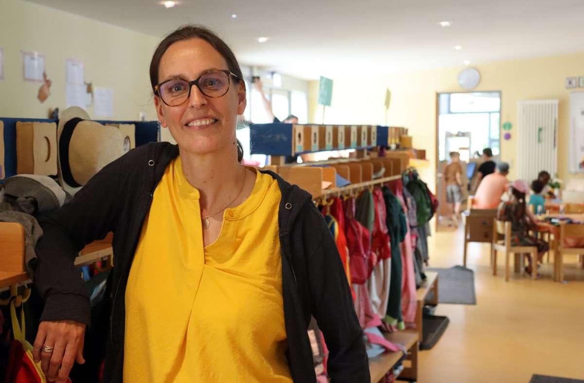 Die Kindheitspädagogin Birte Nees kümmert sich im Rahmen eines Modellprojekts als Integrationskraft im Waldenbucher Kindergarten Im Städtle gezielt um Kinder mit erhöhtem Förderbedarf oder Behinderungen. Foto: Claudia Barner
