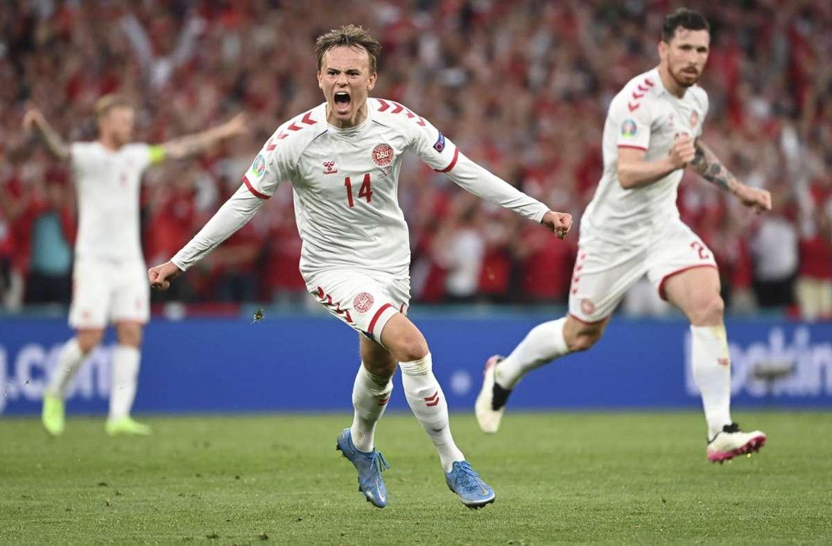Mikkel Damsgaard traf zum 1:0 für Dänemark. Foto: dpa/Jonathan Nackstrand
