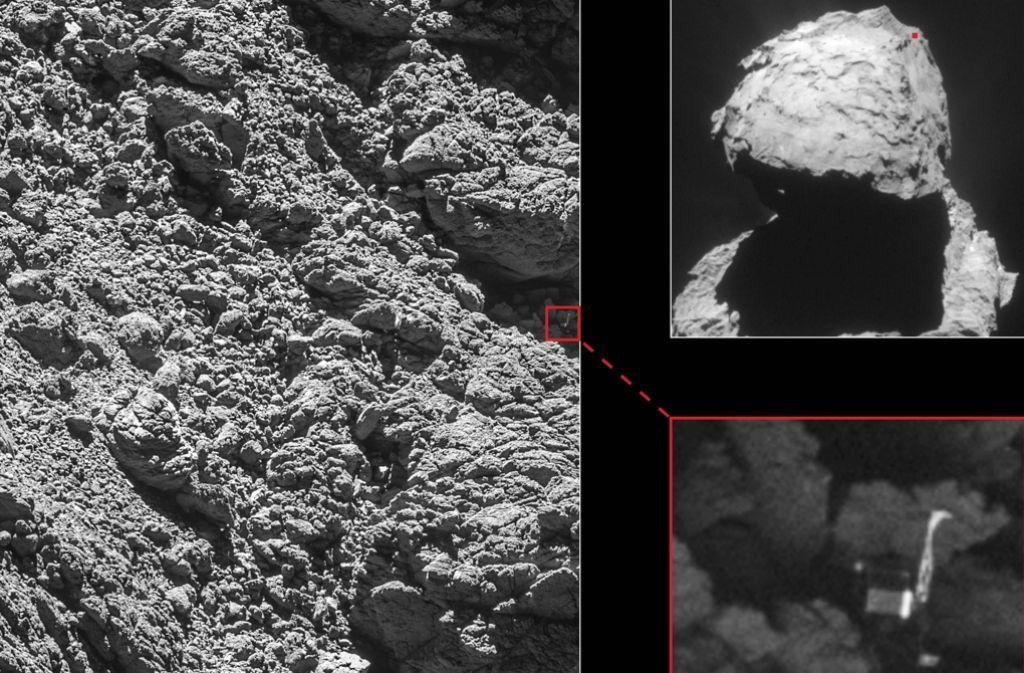 Die Fotos der Raumsonde Rosetta vom 5. September 2016 zeigen den Landeroboter Philae (kl. Bild re. unten), der auf dem Kometen Tschurj (Bild re. oben, kleiner roter Punkt) -in einer kleinen Felsspalte eingeklemmt ist (gr. Bild). Foto: dpa