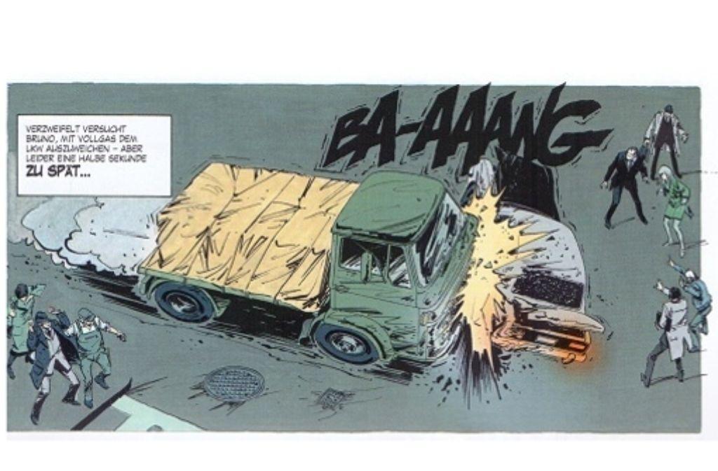 """Der Zeichner William Vance schont in """"Bruno Brazil"""" auch die Autos nicht – obwohl er motorisierte Fahrzeuge aller Art sehr mag. Foto: Egmont Comic Collection"""