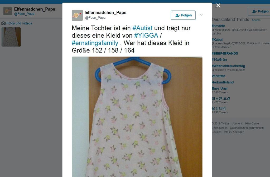 Auf Twitter hat ein Vater für seine Tochter ein besonderes Kleid gesucht – und damit viele Menschen berührt. Auch der Hersteller hat sich gemeldet. Foto: Twitter_Feen_Papa
