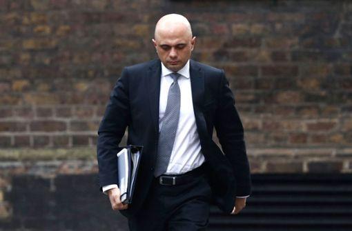 Britischer Finanzminister Sajid  Javid tritt zurück