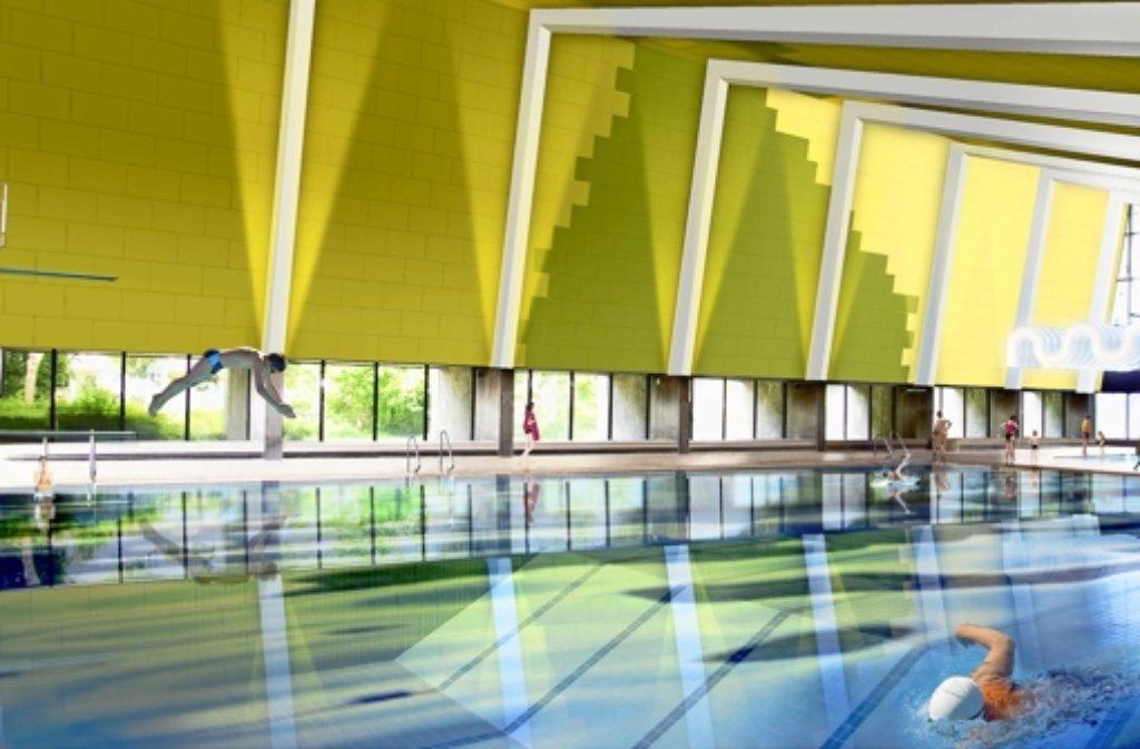 So soll das erneuerte Hallenbad aussehen, wenn es fertig ist. Foto: Stadt Leonberg