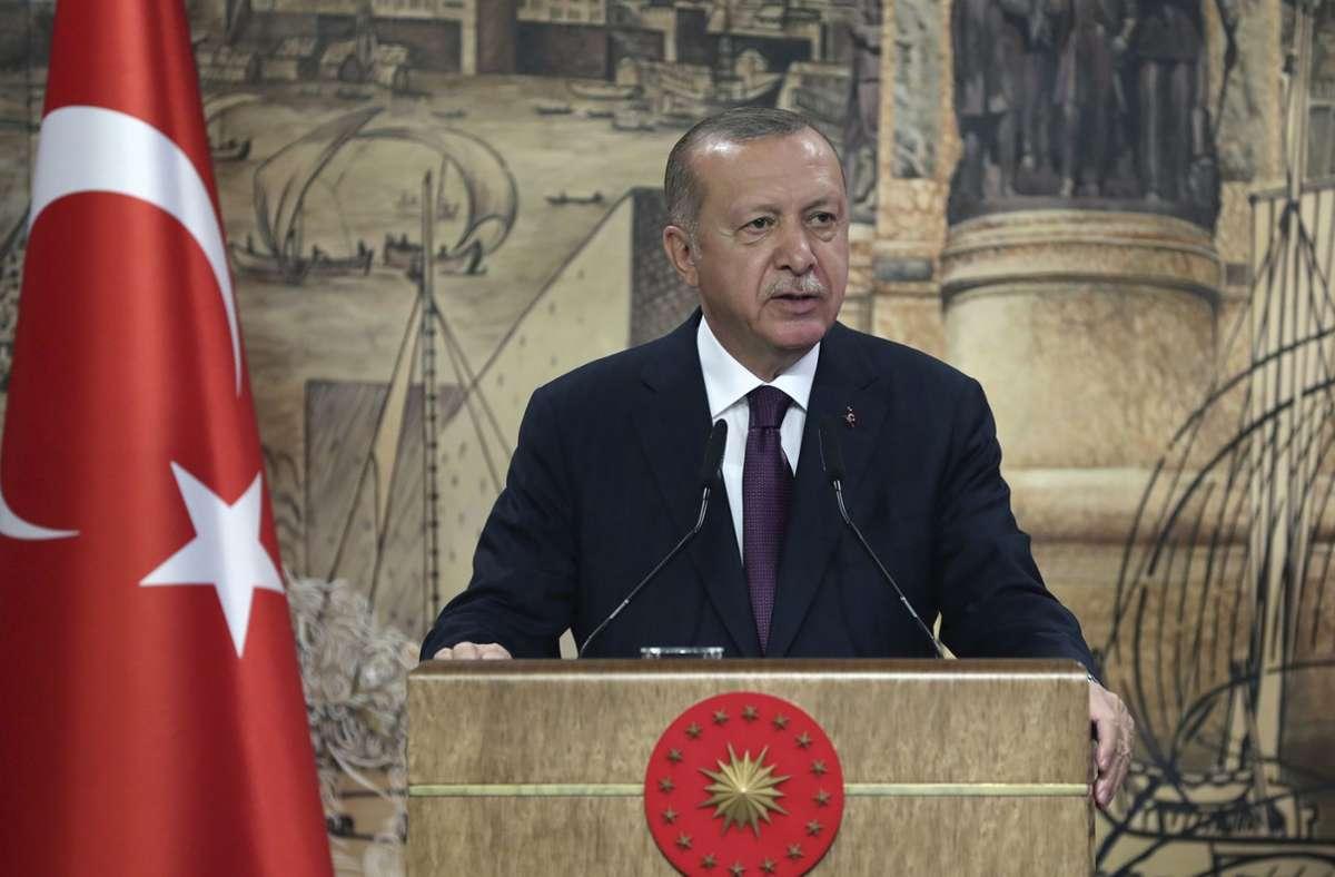 """Recep Tayyip Erdogan sprach am Freitag von der """"größte Erdgasentdeckung"""" in der Geschichte der Türkei. Foto: AP"""