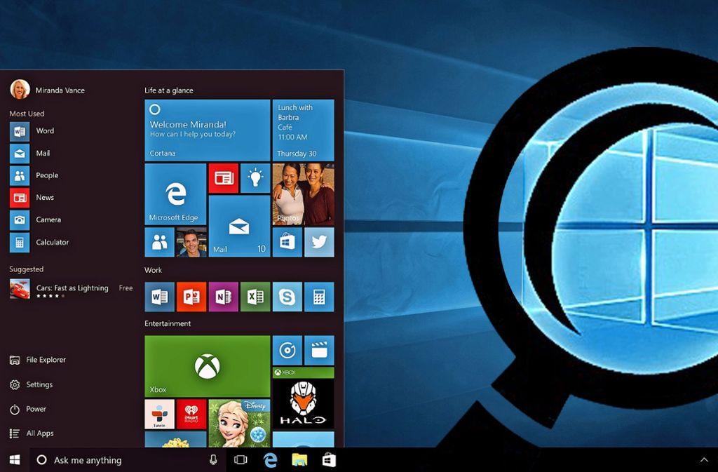 Big Microsoft is watching you: Das Betriebssystem Windows 10 schickt ständig Daten seiner Nutzer an die Zentrale, ohne dass diese etwas dagegen tun können.   Foto: Microsoft Montage: typoserv