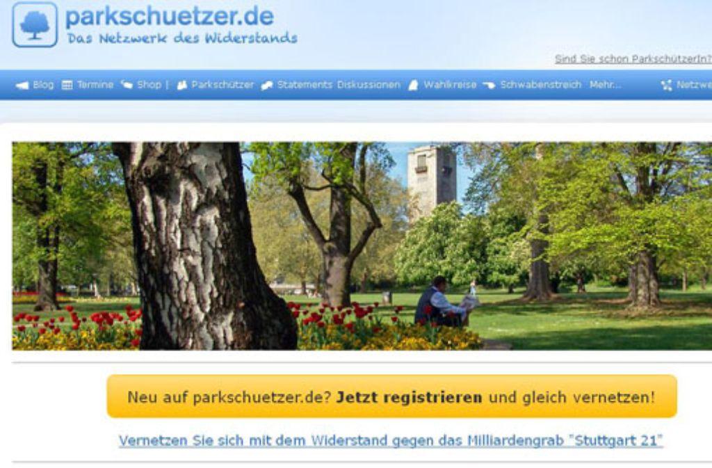 """Die Homepage der """"Parkschützer"""" Foto: Sceenshot: StZ"""