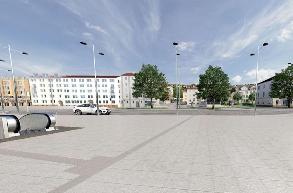 Bisher ist die B14 auf Höhe der Einmündung der Sängerstraße nur in der Visualisierung verschwunden. Die Rolltreppe links führt in die neue Haltestelle Staatsgalerie Foto: plan b