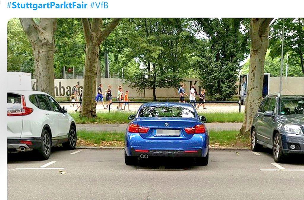 Diese Bilder haben den Hashtag #StuttgartParktFair auf Twitter. Foto: Screenshots: StZ