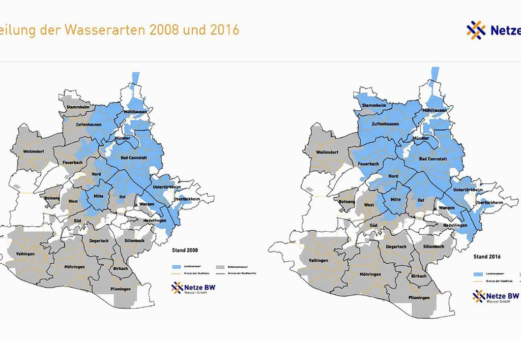 Zwischen den Jahren 2008 und 2016 wurde vor allem in weiten Teilen des  Stuttgarter Nordens von Bodensee- auf Landeswasser umgestellt. Foto: Netze BW