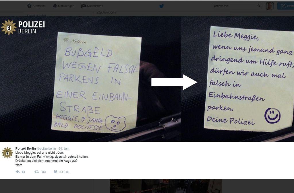 """Meggie"", die ""Nachwuchs-Politesse"",  begnadigt die Berliner Beamten Foto: @polizeiberlin"