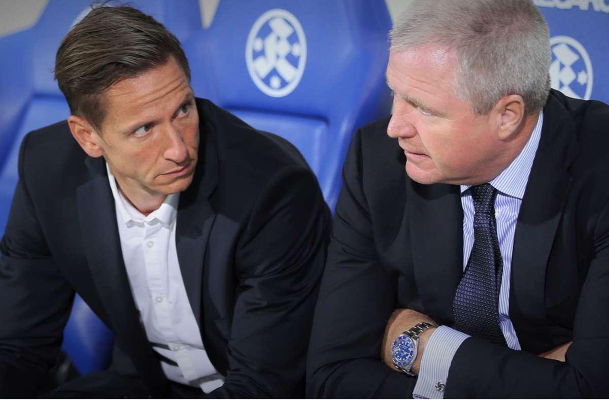 Arbeiteten vier Jahre lang bei den Stuttgarter Kickers vertrauensvoll zusammen: Geschäftsführer Marc-Nicolai Pfeifer (li.) und Präsident Rainer Lorz. Foto: Stuttgarter Kickers/Privat