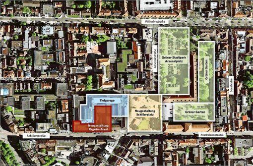 Eine grüne Oase mit  Schillerplatz und Arsenalplatz