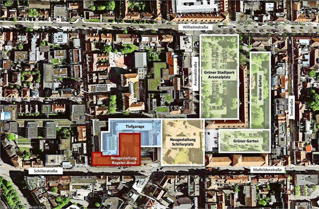 Das Gebiet rund um den Schillerplatz könnte  attraktiver werden. Foto: Google Earth Pro