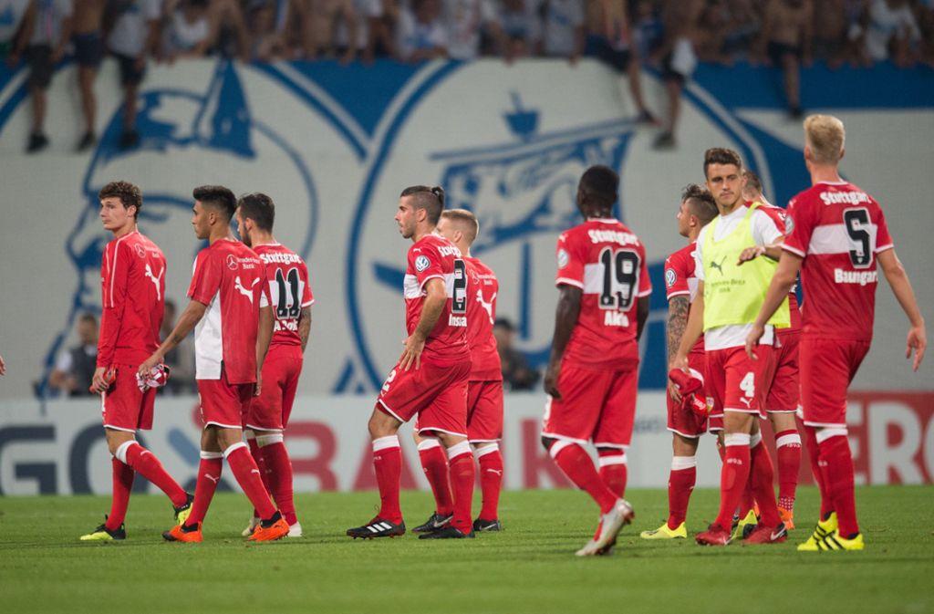 Im vergangenen Jahr scheiterte der VfB in der ersten Runde des DFB Pokals an Drittligist Hansa Rostock. Foto: Pressefoto Baumann