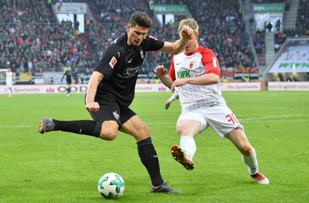 Treffsicher: am 18. Februar 2018 erzielte Mario Gomez (links) beim FC Augsburg das Siegtor zum 1:0 für den VfB Stuttgart. Foto: Getty