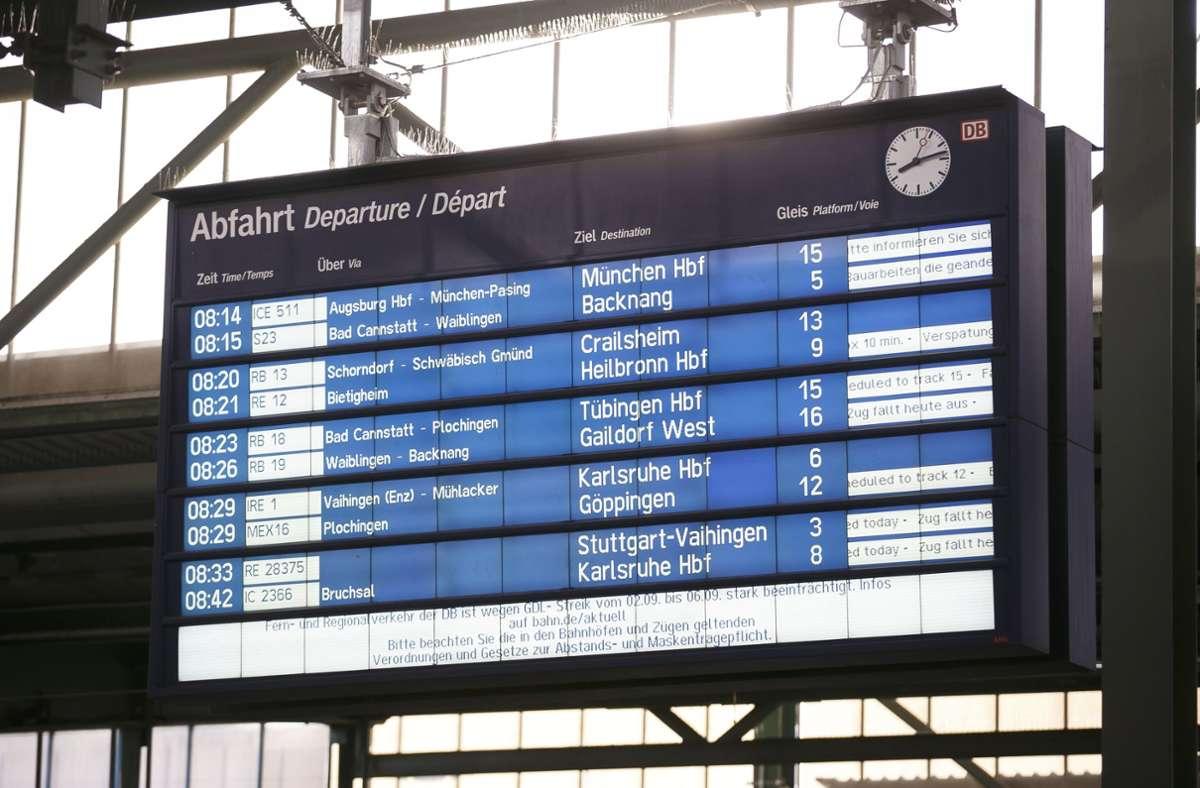 Seit dem frühen Donnerstagmorgen läuft der Streik im Personenverkehr, der noch bis Dienstagfrüh dauern soll. Foto: Lichtgut/Julian Rettig