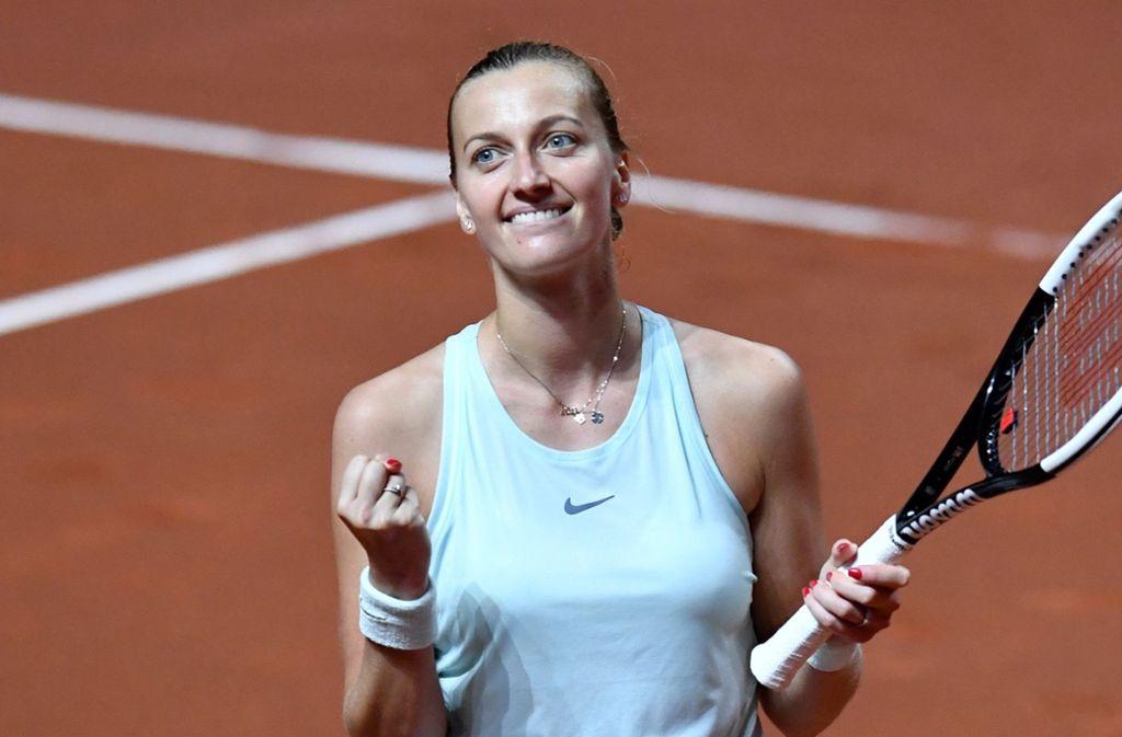 Petra Kvitova steht im Finale des WTA-Turniers in Stuttgart. Foto: AFP