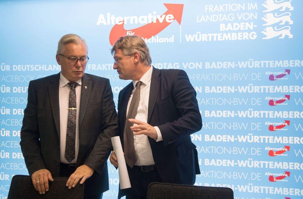 Bernd Gögel (links) ist neuer Fraktionsvorsitzender der AfD im Stuttgarter Landtag. Seinen Vorgänger Jörg Meuthen zieht es nach Brüssel. Foto: dpa