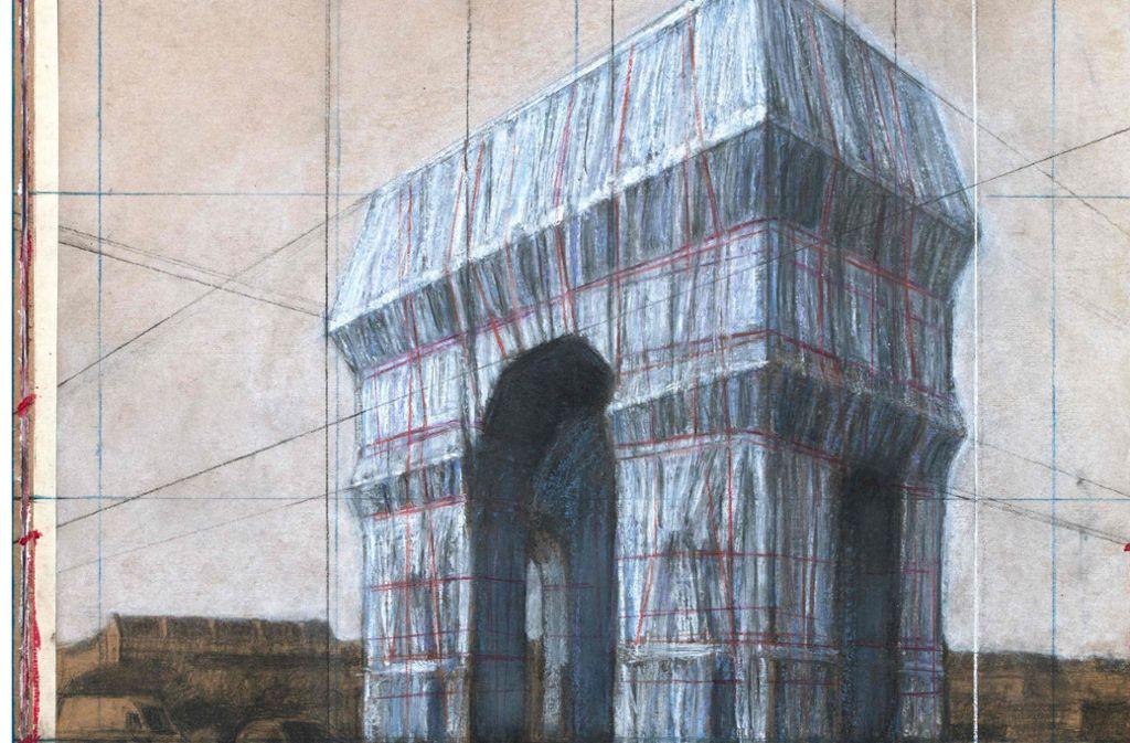 Skizze zu Christos Pariser Projekt. Weitere Bilder finden Sie in unserer Bildergalerie. Foto: AFP