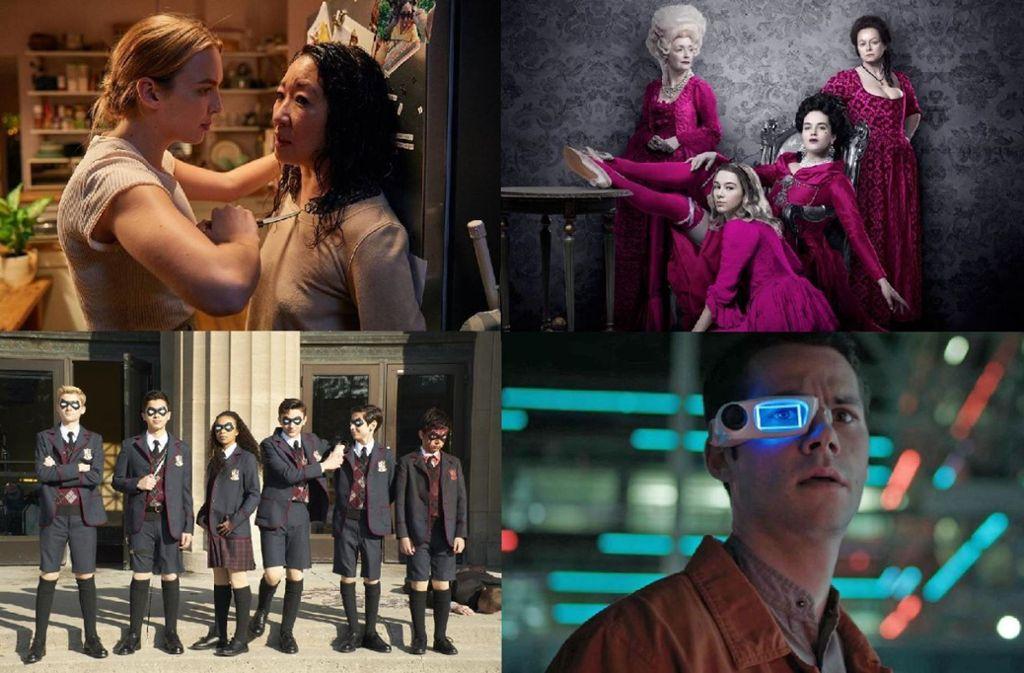 """Das bietet der Februar: """"Killing Eve"""", """"Harlots"""", """"Weird City"""" und """"The Umbrella Academy"""" (von links oben im Uhrzeigersinn). Weitere Eindrücke von den Streaming-Neuheiten finden Sie in unserer Bildergalerie.  Foto:Hulu, Netflix Foto:"""