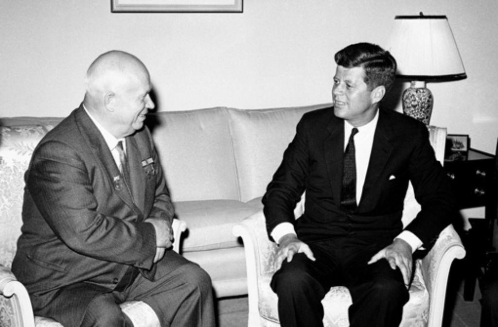 Russlands Präsident Chruschtschow 1961 mit US-Präsident John F. Kennedy. Foto: AP