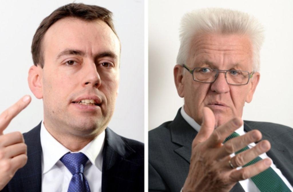 Nils Schmid (l.) und Winfried Kretschmann wollen nun doch mit der AfD im SWR diskutieren. Foto: dpa