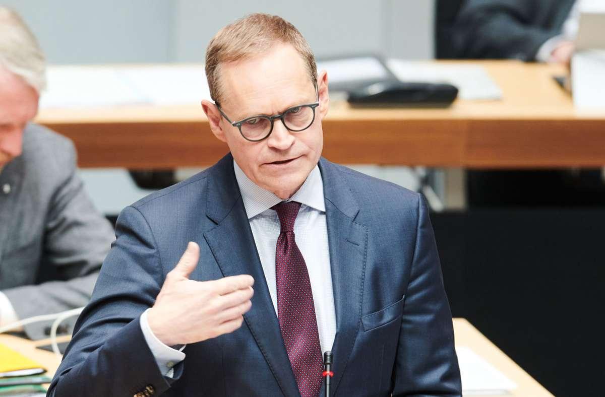 Vorsitzende der Ministerpräsidentenkonferenz, Michael Müller (SPD) Foto: dpa/Annette Riedl