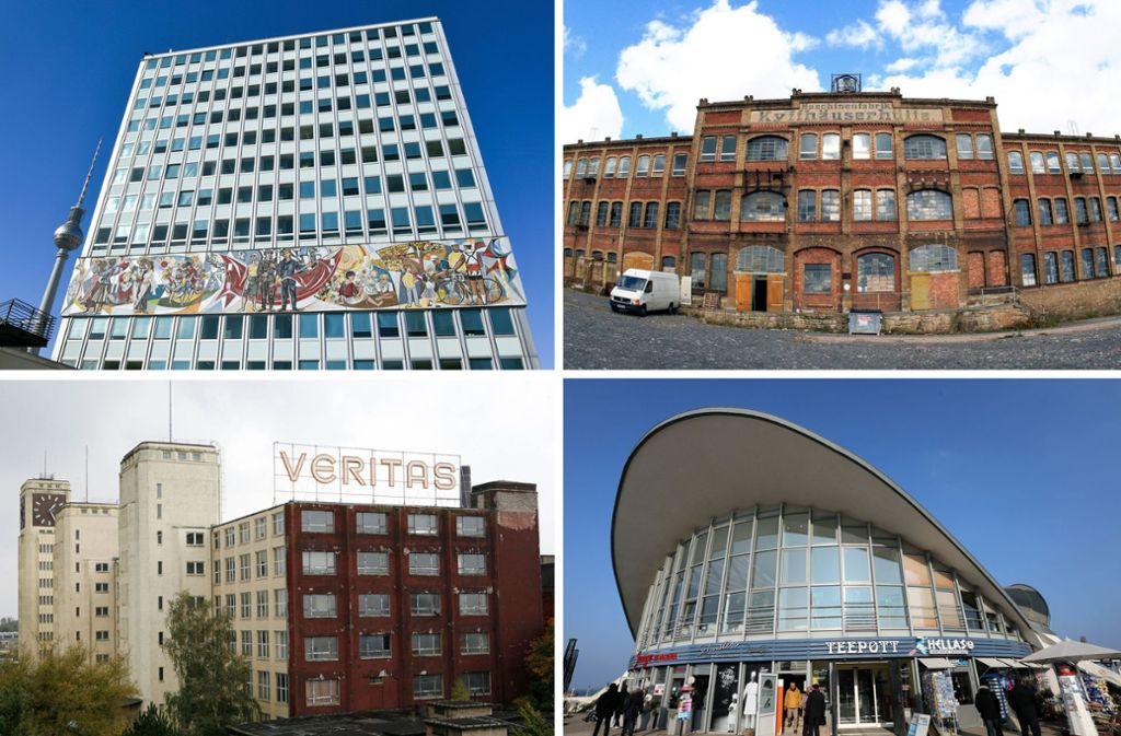 """DDR-Architektur, die überlebt hat :  Das Haus des Lehrers (oben links) am Berliner Alexanderplatz, die verfallene ehemalige Maschinenfabrik Kyffhäuserhütte in Artern (oben rechts), das ehemalige Nähmaschinenwerk Veritas (unten links) in Wittenberge und der """"Teepott""""  in Warnemünde, dessen Dachkonstruktion von Ulrich Müther stammt und ein schönes Beispiel für Hyparschalenarchitektur ist. Foto: dpa"""