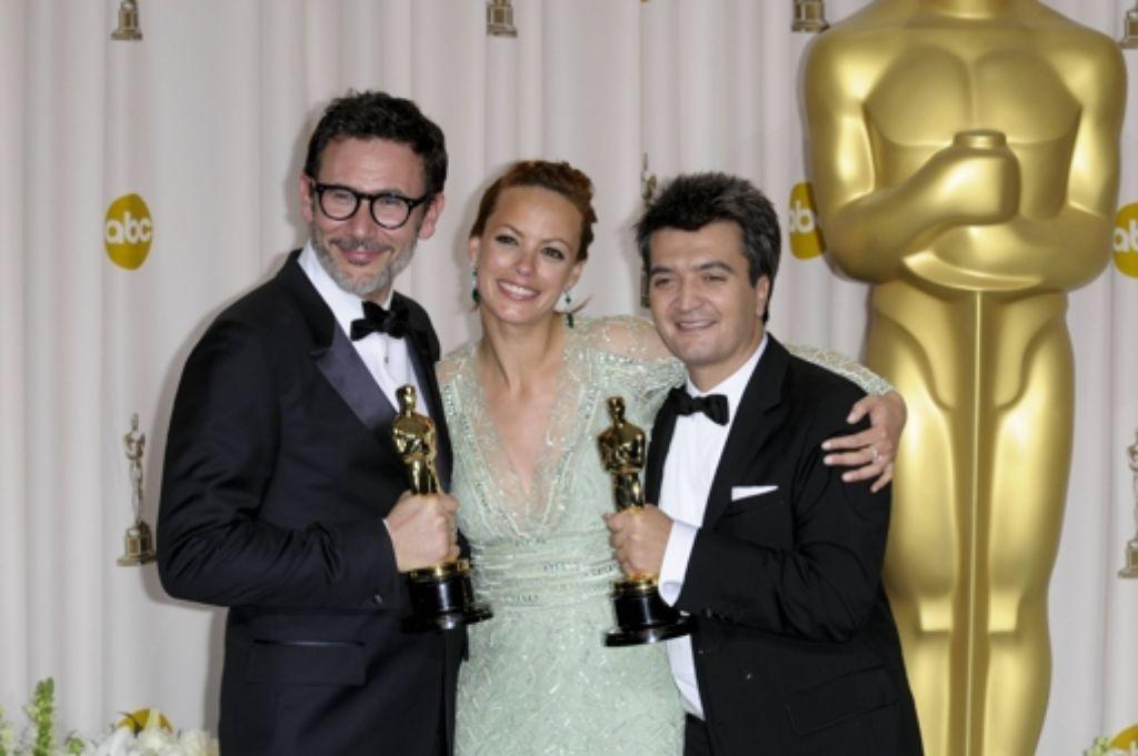 Regisseur Michel Hazanavicius, Schauspielerin Berenice Bejo und Produzent Thomas Langmann Foto: dpa