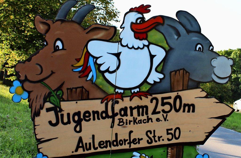 Ein fröhlich-buntes Schild weist den Weg zur Jugendfarm in Birkach. Foto: Jacqueline Fritsch