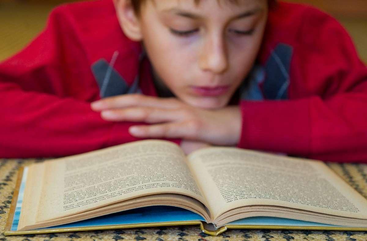 Die Nase im Buch hat dieser Junge – das ist auch bei mehr als der Hälfte der Sechs- bis Dreizehn-Jährigen mindestens einmal pro Woche der Fall. Foto: dpa