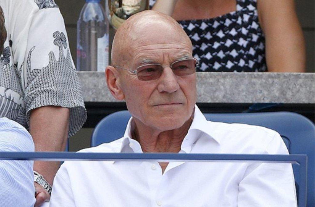 Der britische Schauspieler Patrick Stewart, bekannt als Professor X in den X-Men-Filmen und Star Treks Captain Picard, hat die Tennis-Sensation der diesjährigen US Open miterlebt, als ... Foto: dpa