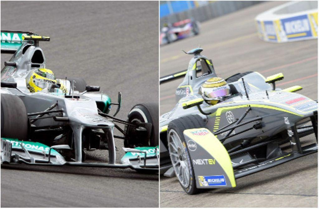 Was kann ein Formel-1-Wagen (links), was ein Formel-E-Auto nicht kann? Foto: Baumann/dpa
