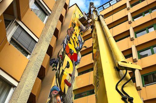 Graffiti 30 Meter über dem Boden
