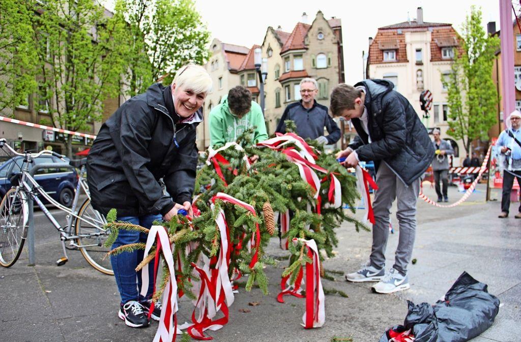 Mit bunten Bändern wurde der Maibaum auf dem Wilhelm-Geiger-Platz geschmückt. Später half die Feuerwehr beim Aufstellen der fast 30 Meter hohen Fichte. Foto: Georg Friedel