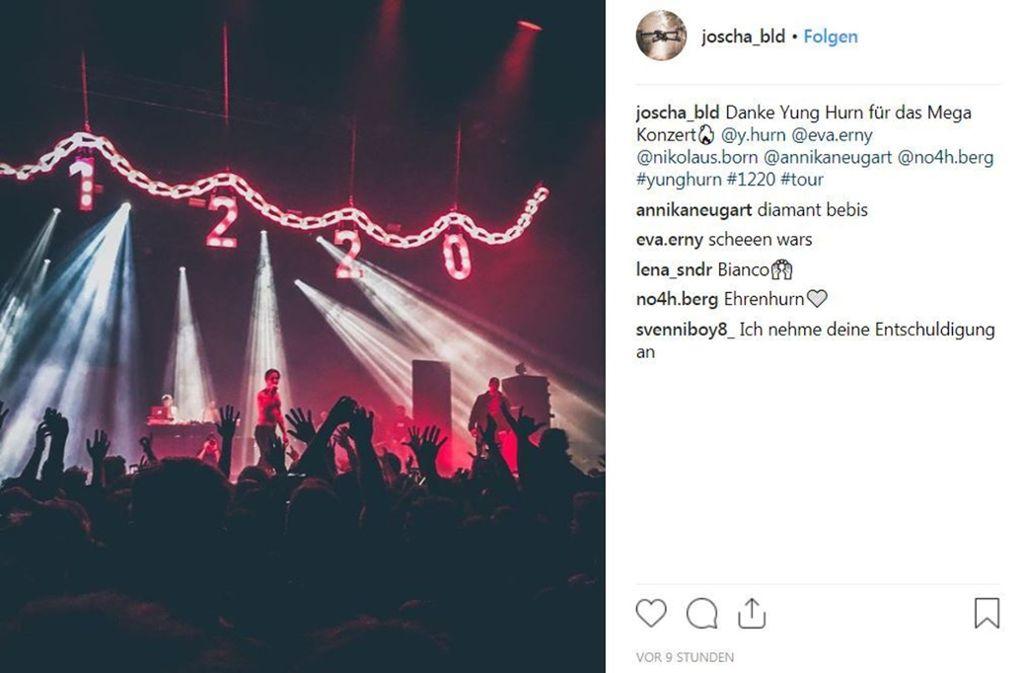 Professionelle Fotografen erteilte die Konzertagentur Hausverbot. Deshalb zeigen wir einige Instagram-Bilder vom Yung-Hurn-Konzert in der Porsche-Arena in Stuttgart. Foto: Instagram (Screenshot)
