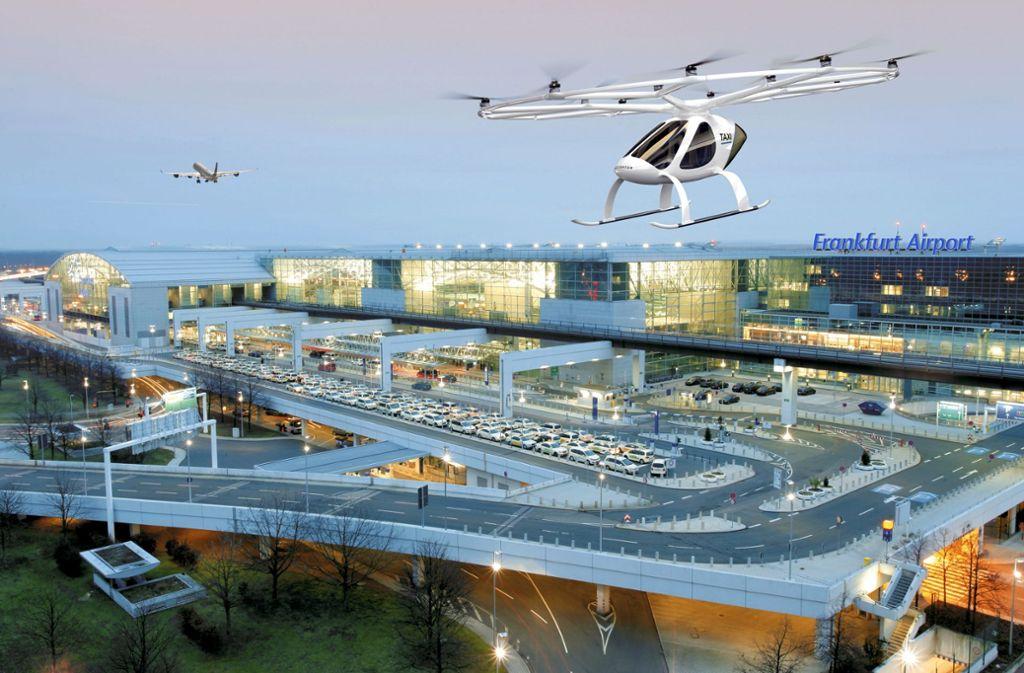 So könnte Mobilität von morgen aussehen: Mit dem Volocopter Flugtaxi starten und am Flughafen Frankfurt landen. Foto: