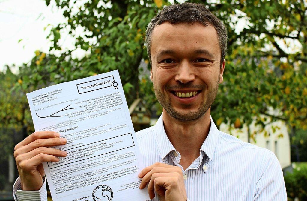 Ingo Kerkamm lädt zum Mitmachen bei seinem Freund-Klima-Pakt ein. Foto: Caroline Holowiecki