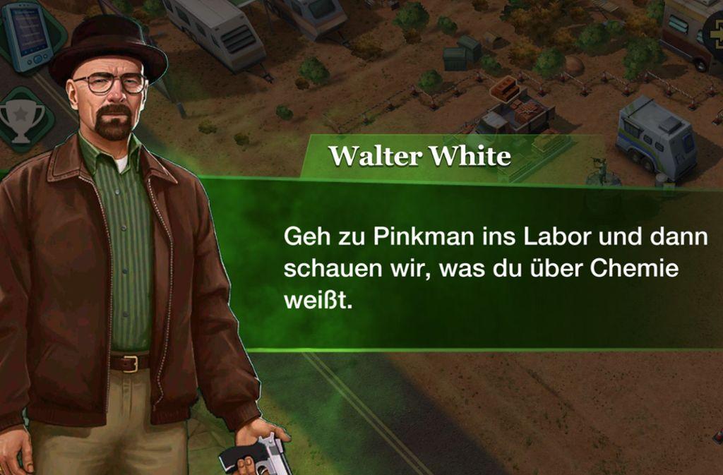 """""""Sag mein Namen!""""- Walter White alias Heisenberg meldet sich im Spiel immer wieder zu Wort Foto: Screenshot"""