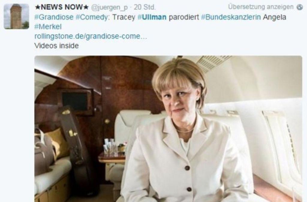 Die Fans im Internet sind von den Parodien Ullmans in der Rolle von Angela Merkel begeistert. Foto: Screenshot