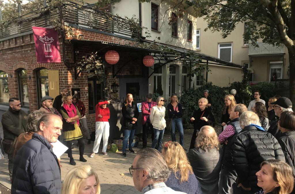 Austausch von Argumenten: Bürger des Gerberviertels kämpfen für den Platznamen Gerberplätzle statt Therese-Huber-Platz Foto: Martin Haar